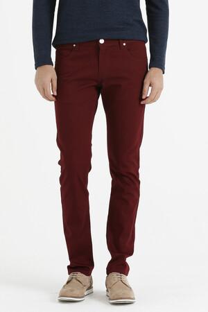 Hatem Saykı - Desenli Slim Fit Kırmızı Pantolon