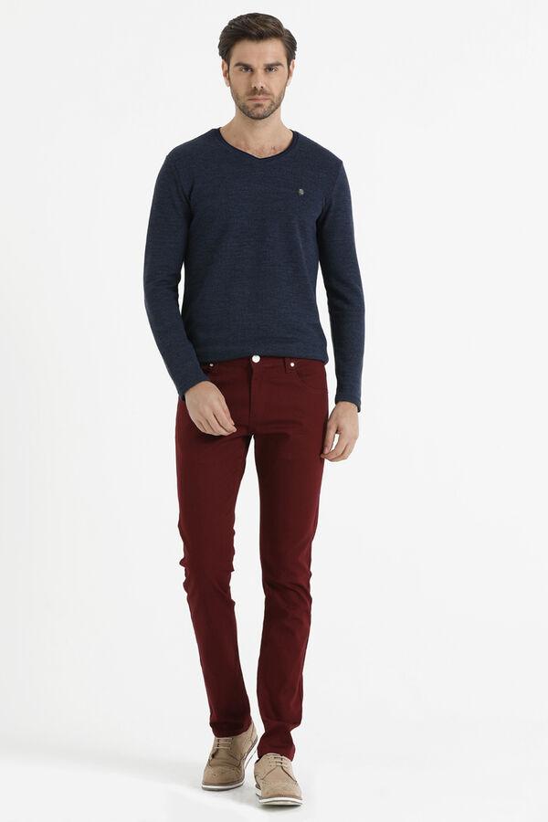 Hatem Saykı - Desenli Slim Fit Kırmızı Pantolon (1)