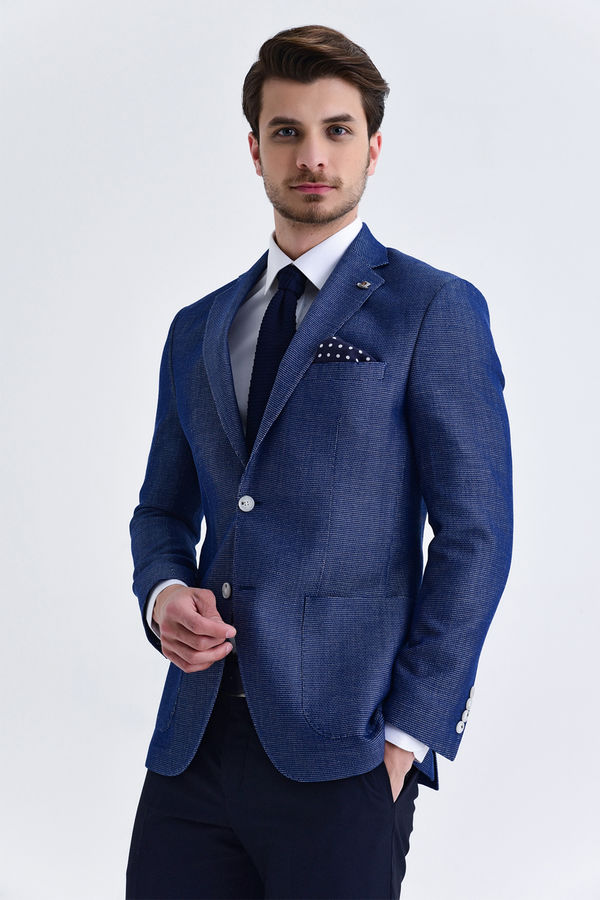 Hatem Saykı - Lacivert Slim Fit Desenli Blazer Ceket