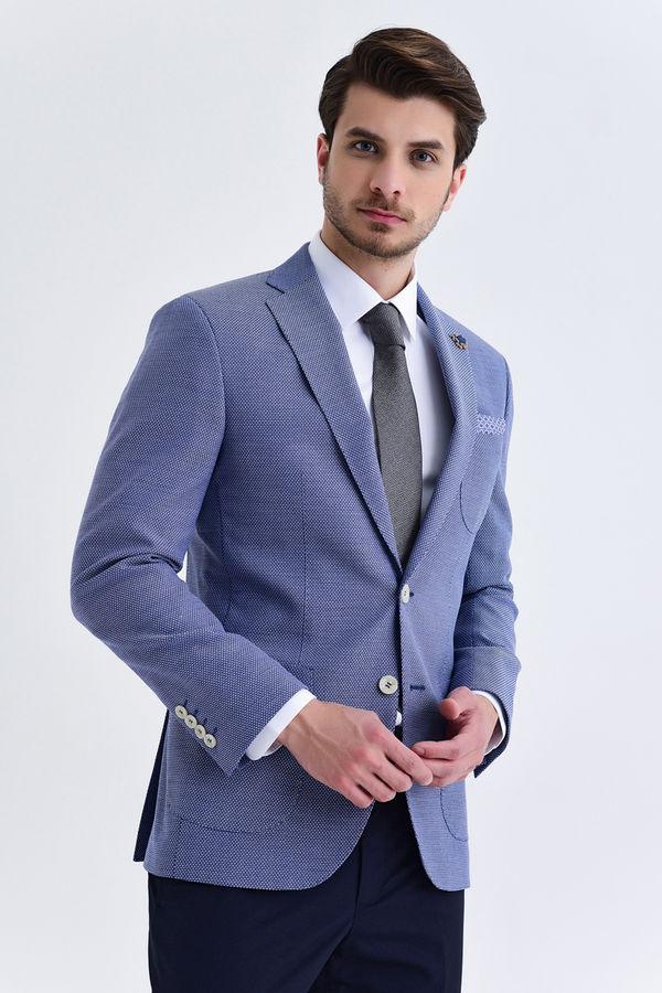 Hatem Saykı - Mavi Slim Fit Desenli Blazer Ceket
