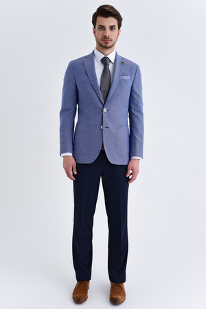 Hatem Saykı - Mavi Slim Fit Desenli Blazer Ceket (1)
