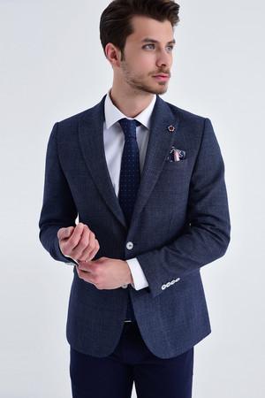 Hatem Saykı - Desenli Slim Fit Lacivert Ceket