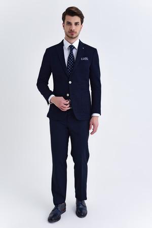Hatem Saykı - Desenli Slim Fit Lacivert Ceket (1)