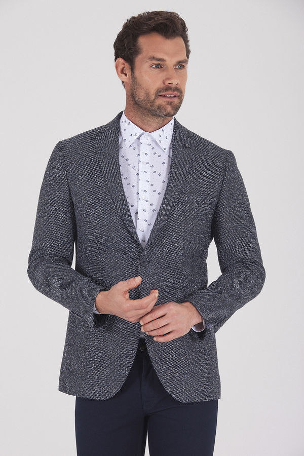 Hatemoğlu - Desenli Slim Fit Lacivert Ceket