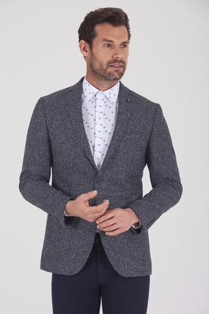 Hatemoğlu - Lacivert Slim Fit Desenli Klasik Ceket