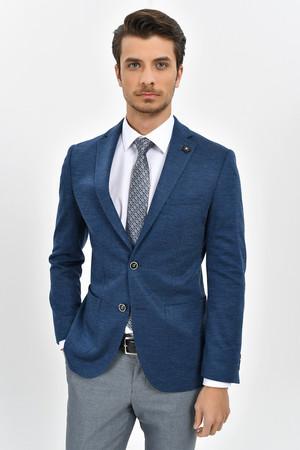 HTML - Mavi Slim Fit Desenli Klasik Ceket