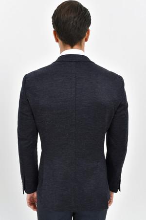 Lacivert Slim Fit Desenli Klasik Ceket - Thumbnail