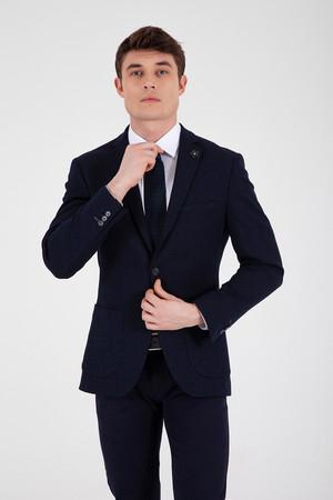 Desenli Slim Fit Lacivert Ceket - Thumbnail