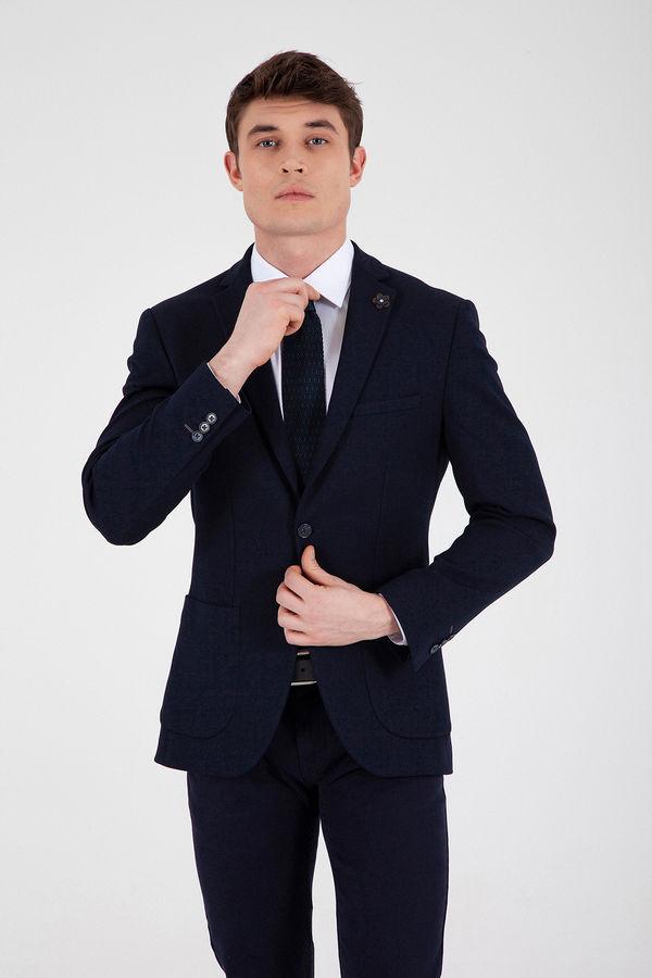 Desenli Slim Fit Lacivert Ceket