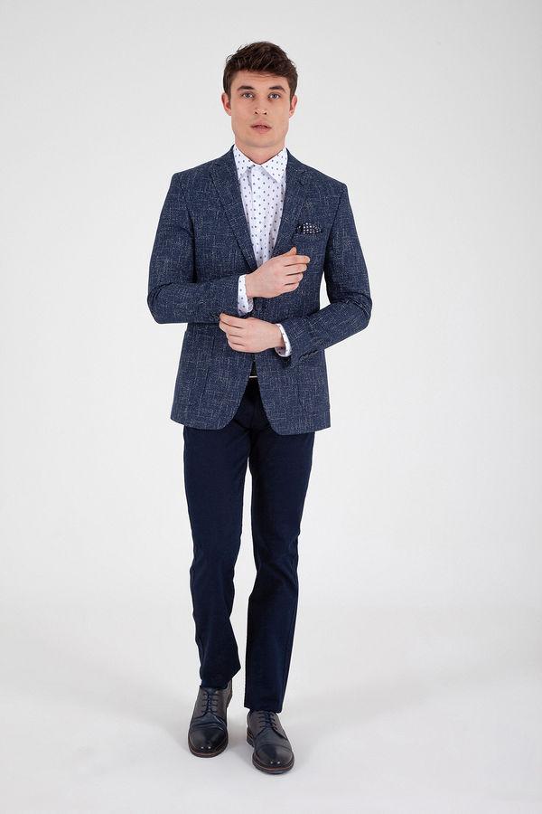 Hatem Saykı - Lacivert Slim Fit Desenli Klasik Ceket (1)