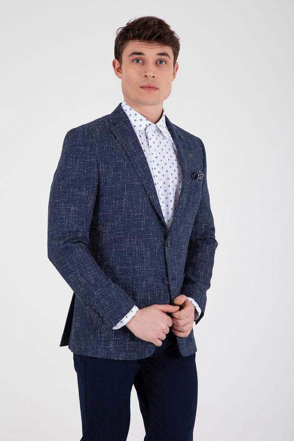 Hatem Saykı - Lacivert Slim Fit Desenli Klasik Ceket
