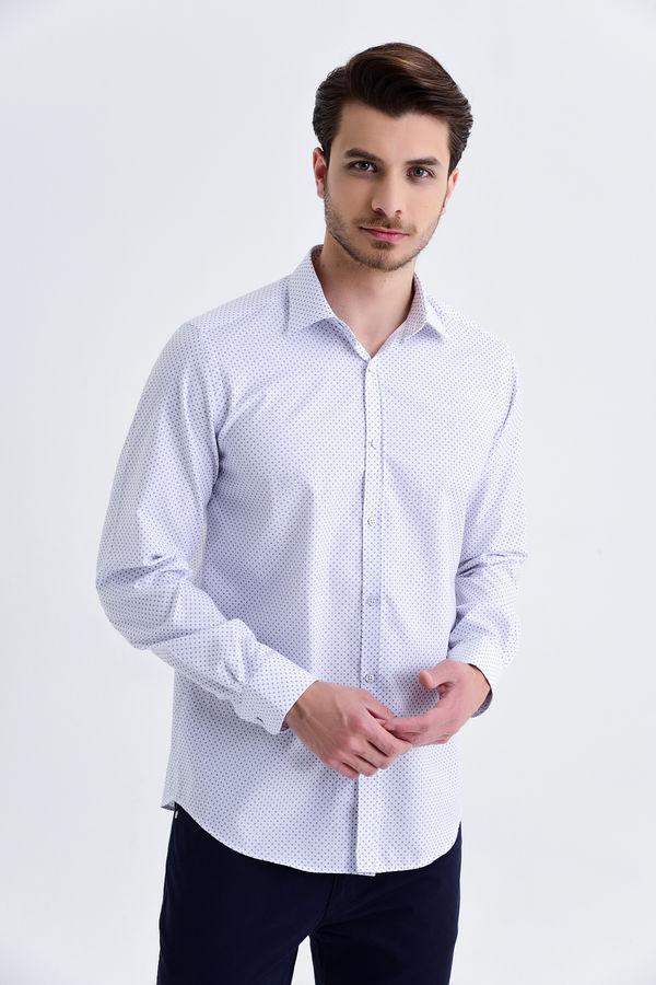 Hatemoğlu - Desenli Slim Fit Lacivert Gömlek