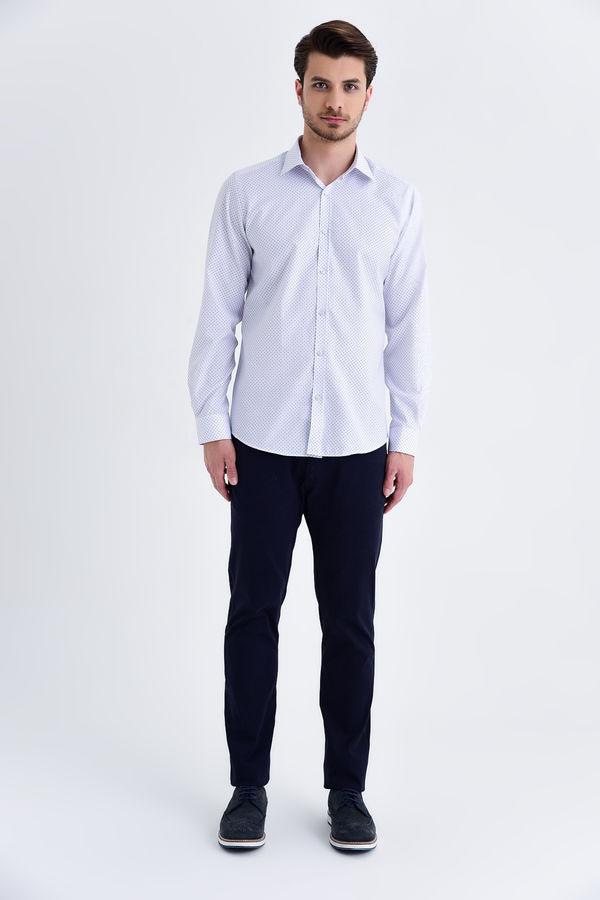 Hatemoğlu - Desenli Slim Fit Lacivert Gömlek (1)