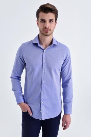Hatem Saykı - Desenli Slim Fit Lacivert Gömlek