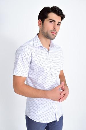 Hatemoğlu - Kısa Kol Lacivert Desenli Gömlek