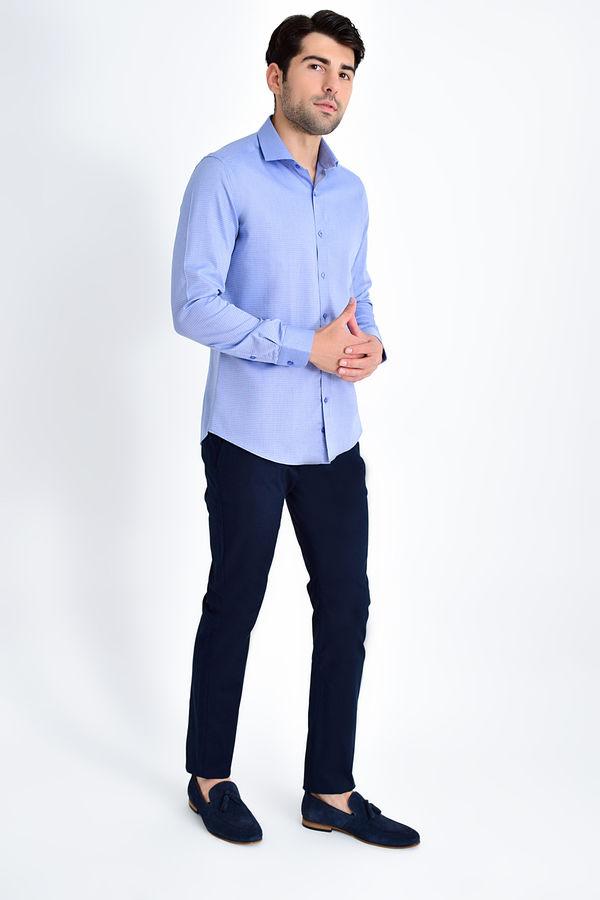 Hatem Saykı - Desenli Slim Fit Lacivert Gömlek (1)