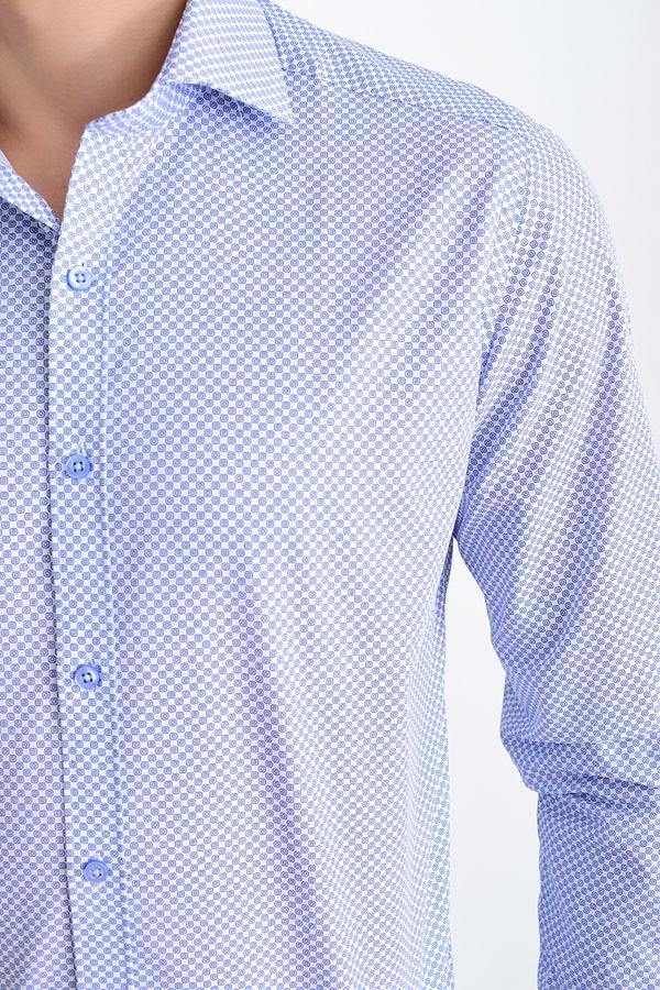 Desenli Slim Fit Lacivert Gömlek