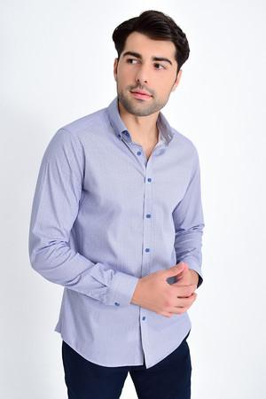 HTML - Desenli Slim Fit Lacivert Gömlek