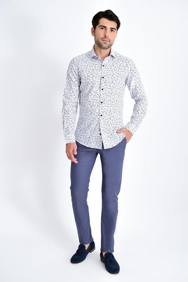 HTML - Desenli Slim Fit Lacivert Gömlek (1)