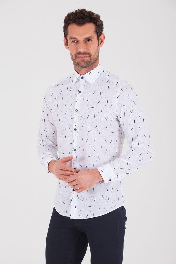 Desenli Slim Fit LACİVERT Gömlek