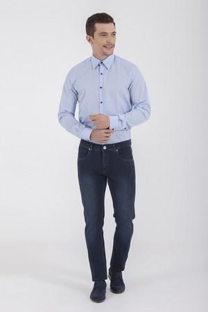 Desenli Slim Fit Lacivert Pantolon - Thumbnail