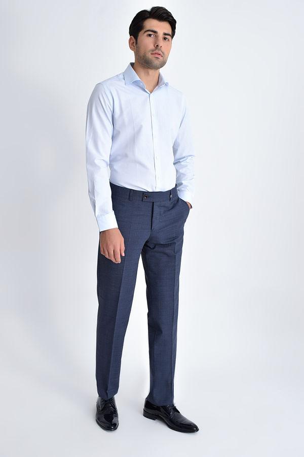 Hatem Saykı - Desenli Slim Fit Lacivert Pantolon (1)