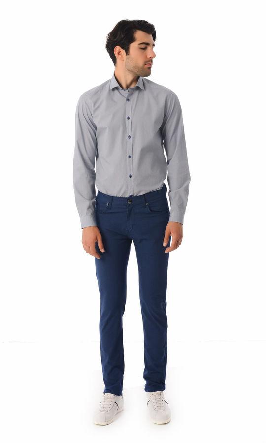 HTML - Desenli Slim Fit Lacivert Pantolon (1)