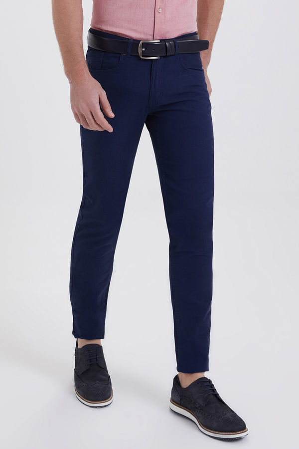 HTML - Desenli Slim Fit Lacivert Pantolon