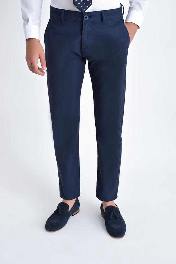 Hatem Saykı - Desenli Slim Fit Lacivert Pantolon