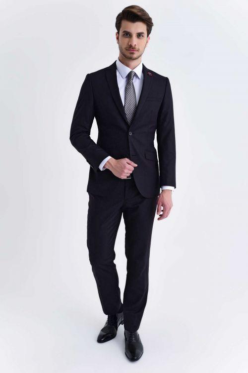 HTML - Desenli Slim Fit Lacivert Takım Elbise