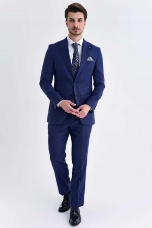 Hatem Saykı - Açık Lacivert Desenli Slim Fit Takım Elbise