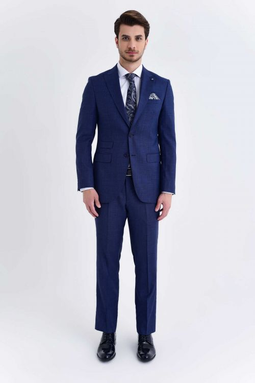 Hatem Saykı - Açık Lacivert Desenli Slim Fit Takım Elbise (1)