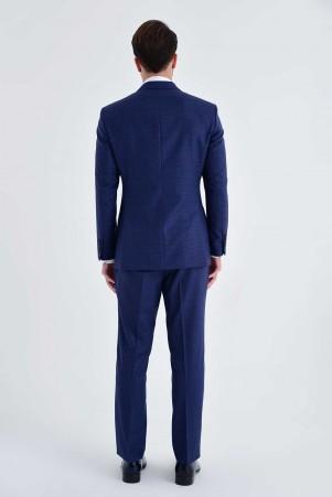 Desenli Slim Fit Lacivert Takım Elbise - Thumbnail