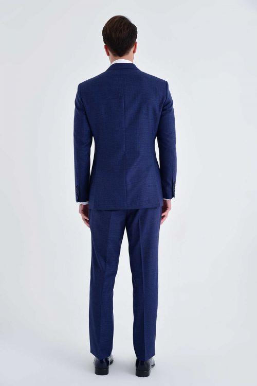 Desenli Slim Fit Lacivert Takım Elbise