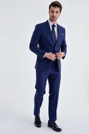 Hatem Saykı - Açık Lacivert %100 Yün Slim Fit Takım Elbise