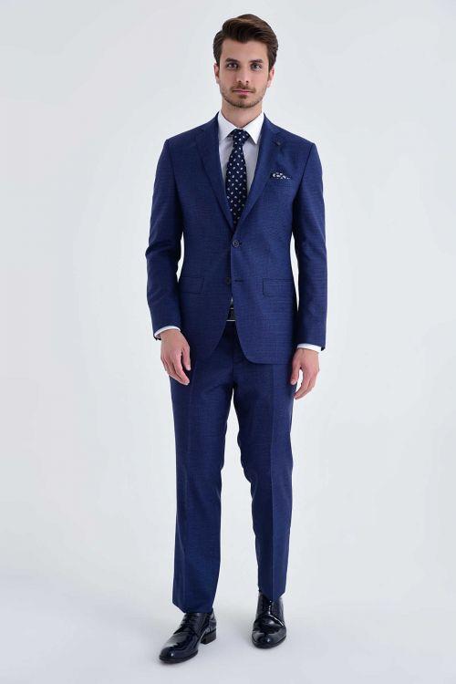Hatem Saykı - Açık Lacivert %100 Yün Slim Fit Takım Elbise (1)