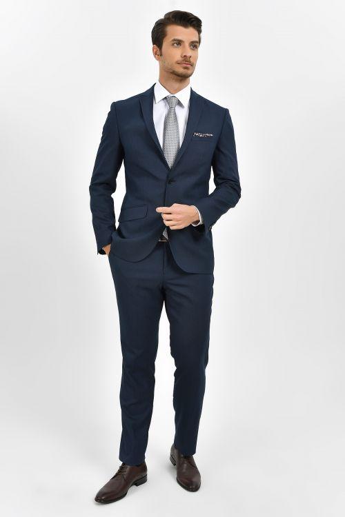HTML - Desenli Slim Fit Lacivert Takım Elbise (1)