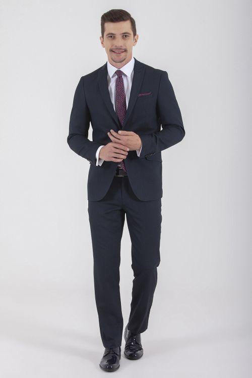 HTML - Lacivert Desenli Slim Fit Takım Elbise