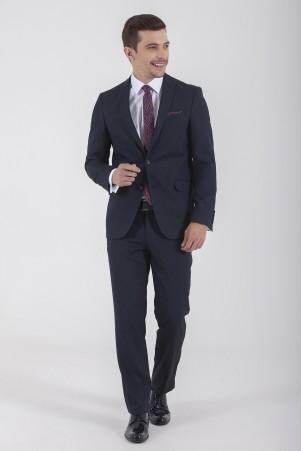 HTML - Lacivert Desenli Slim Fit Takım Elbise (1)