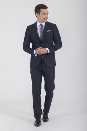 Hatemoğlu - Lacivert Desenli Slim Fit Takım Elbise (1)