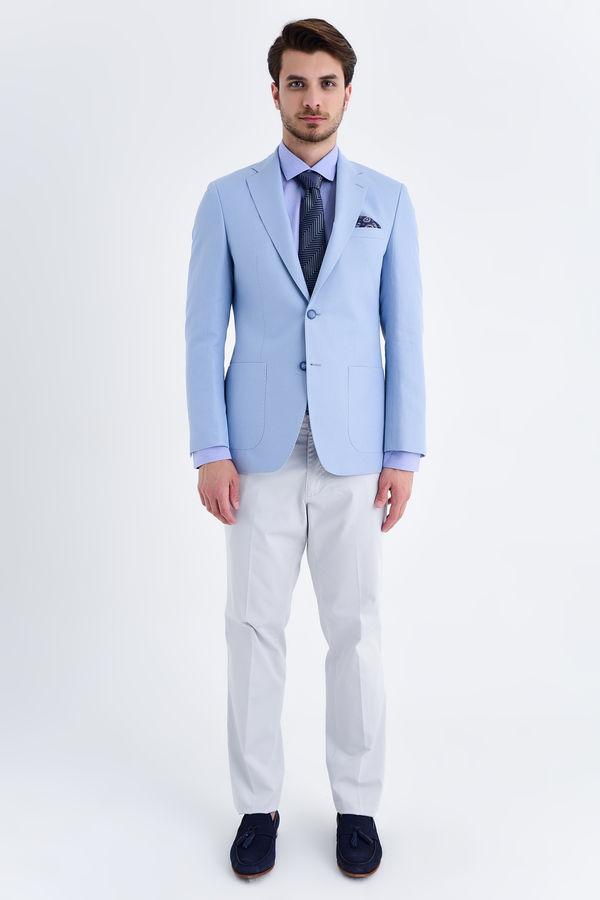 Hatem Saykı - Desenli Slim Fit Mavi Ceket (1)