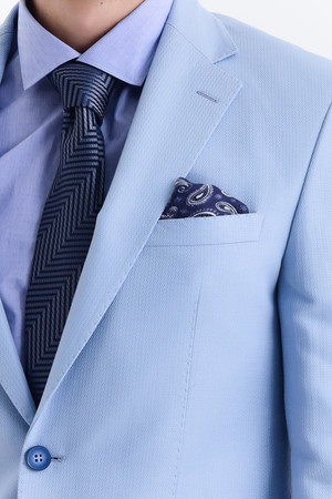 Desenli Slim Fit Mavi Ceket - Thumbnail