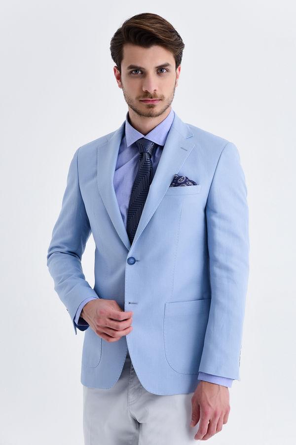 Hatem Saykı - Açık Mavi Slim Fit Desenli Ceket