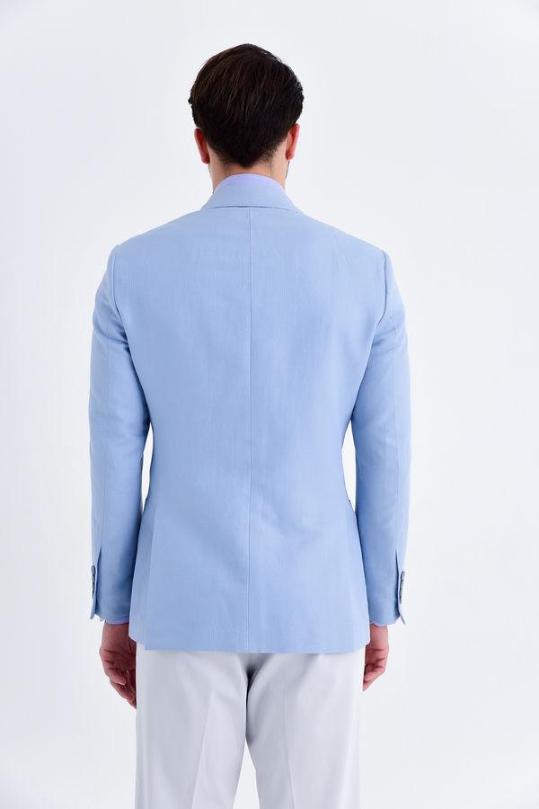 Açık Mavi Slim Fit Desenli Ceket