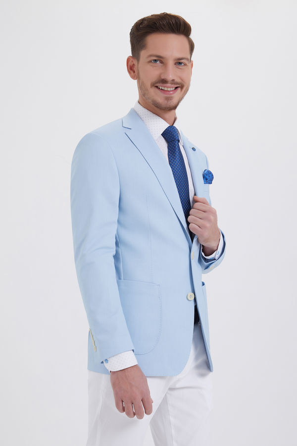 Hatem Saykı - Desenli Slim Fit Mavi Ceket