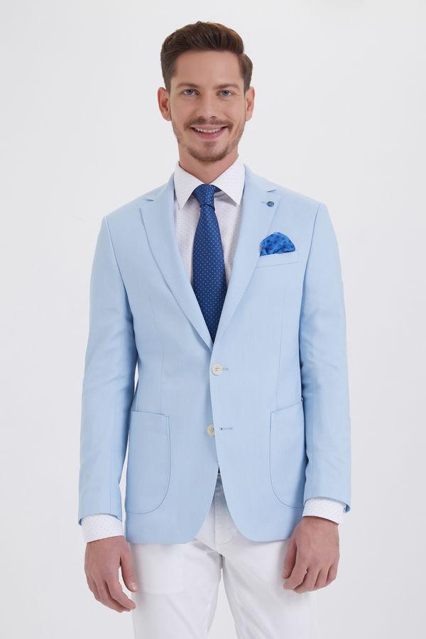Desenli Slim Fit Mavi Ceket