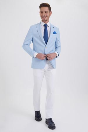 Hatem Saykı - Açık Mavi Slim Fit Blazer Ceket (1)
