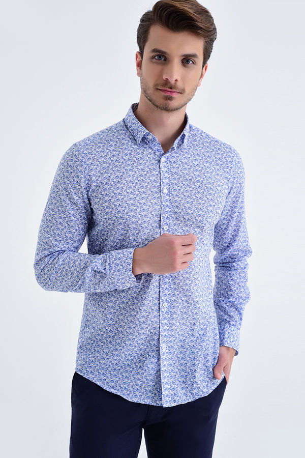 HTML - Desenli Slim Fit Mavi Gömlek