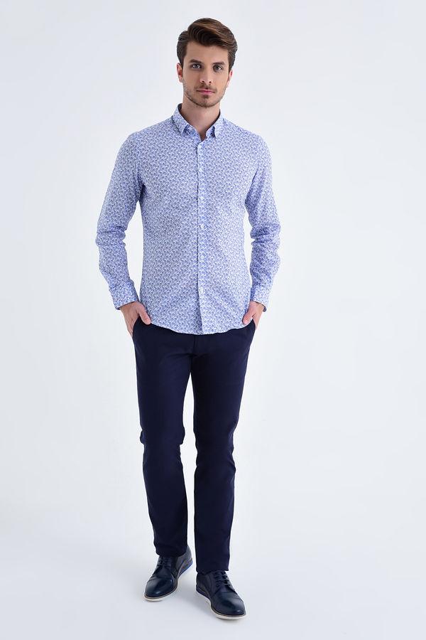 HTML - Desenli Slim Fit Mavi Gömlek (1)