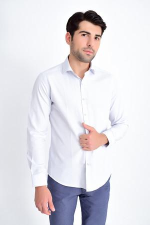 Hatemoğlu - Desenli Slim Fit Mavi Gömlek